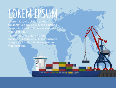 Commercial sea shipping banner template