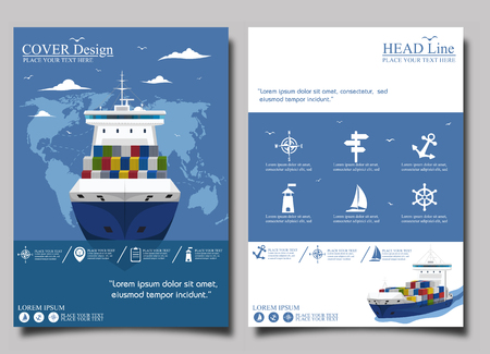 Sea shipping poster template set Illustration