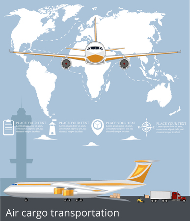 Aviation poster with jet airplane in airport. Commercial air shipment, fast freight delivery, global cargo transportation. Worldwide tourist and business flights, low cost airline vector illustration.
