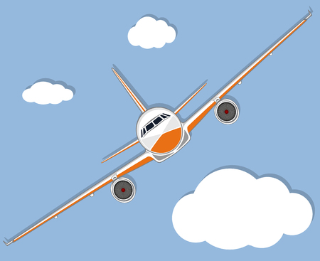 Aviation poster with jet airplane in sky. Illustration