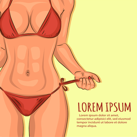 adult sex: Sexy young girl in swimsuit illustration