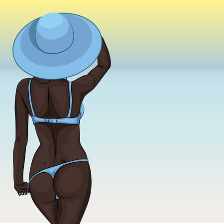 Sexy young african girl in swimsuit and sun hat