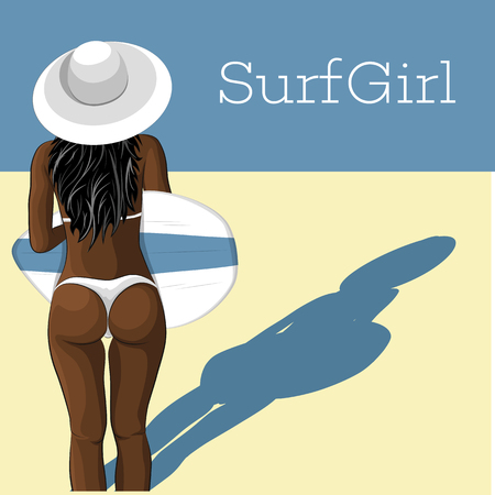 Young african surfer girl in swimsuit with surfboard. Extreme summer water sports concept, healthy fit woman with sexy body, beach vacation, healthy lifestyle vector illustration.