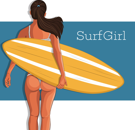 Young surfer girl in swimsuit with surfboard. Extreme summer water sports concept, healthy fit woman with sexy body, beach vacation, healthy lifestyle vector illustration.