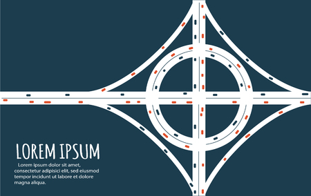 Busy highway road junction. Urban road traffic with cars top view. Overhead view of transport vector illustration. Minimalistic banner. Illustration