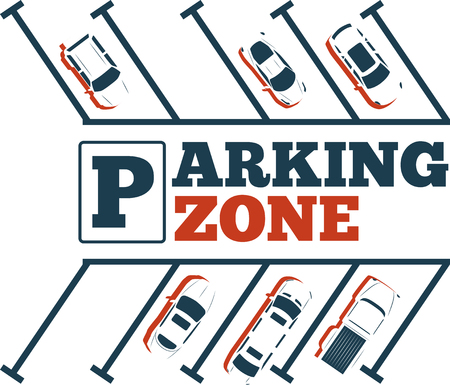 Parking zone poster in minimalist style. Top view parked cars in parking lot, outdoor auto park, free public parking, city transport services vector illustration. Illustration