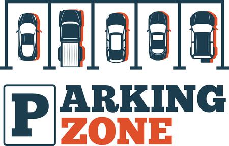 Parkeren zone poster in minimalistische stijl. Bovenaanzicht geparkeerde auto's in parkeerplaats, buiten auto park, gratis openbare parkeerplaats, stadsvervoer diensten vector illustratie. Stockfoto - 84577204