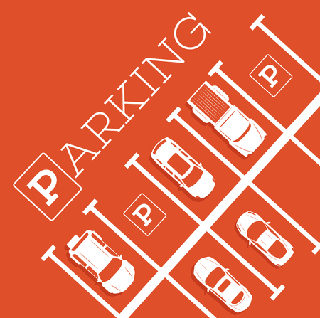 Parking zone poster in minimalist style. Top view parked cars in parking lot, outdoor auto park, free public parking, city transport services vector illustration. Çizim