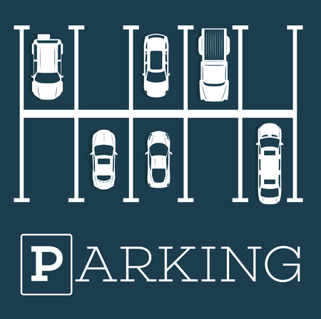 Parking zone poster in minimalist style. Top view parked cars in parking lot, outdoor auto park, free public parking, city transport services vector illustration. Stock Photo