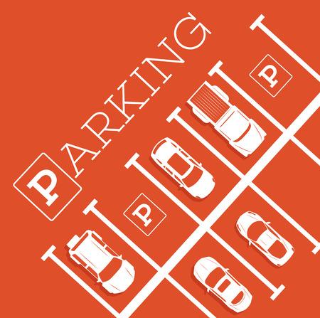Parkeren zone poster in minimalistische stijl. Bovenaanzicht geparkeerde auto's in parkeerplaats, buiten auto park, gratis openbare parkeerplaats, stadsvervoer diensten vector illustratie. Stockfoto - 84598653