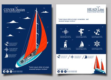 帆ボートとヨット クラブのフライヤー デザイン  イラスト・ベクター素材