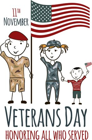 Veterans day greeting card with kids