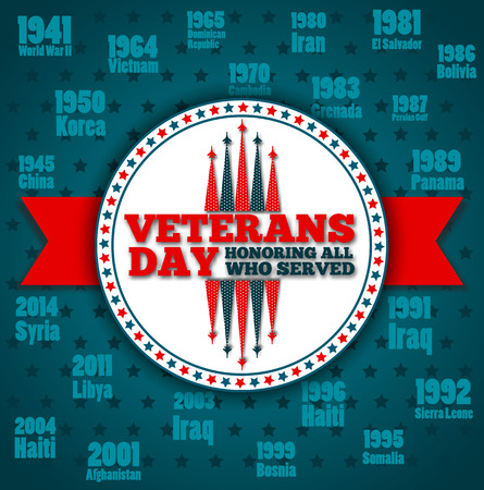 Veterans day greeting card template Illustration