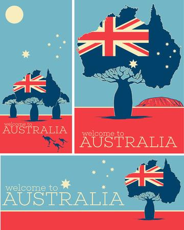 Welcome to Australia vintage posters with Australian patriotic symbols. Illustration
