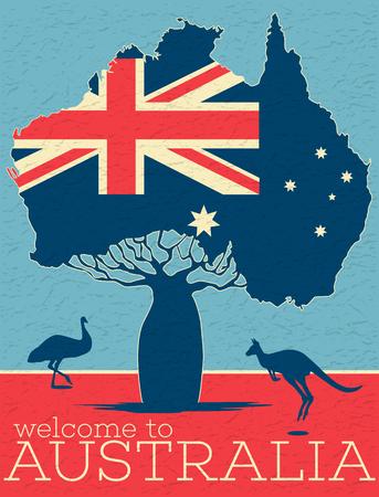 Welcome to Australia vintage poster. Illustration