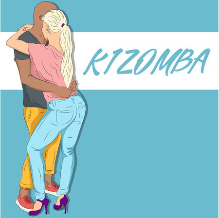 Illustration of a young couple dancing kizomba.
