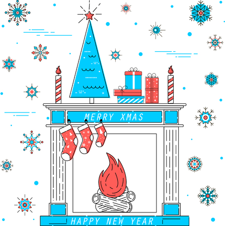Merry xmas and happy new year card Illustration