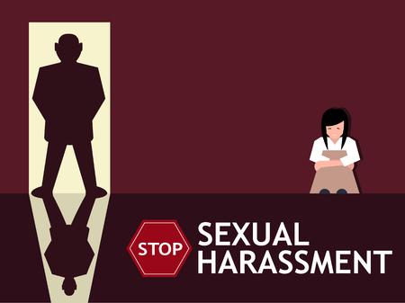Cartaz do acosso sexual com a silhueta triste da moça e do homem na entrada. O problema social do gênero do mundo, direito das mulheres e discriminação do sexo vector a ilustração.