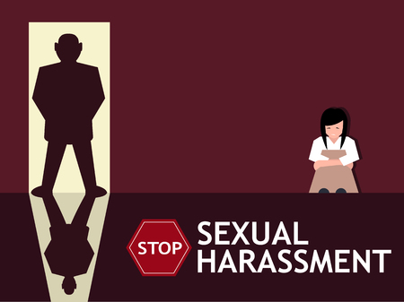 Sexual harassment poster with sad young girl and man silhouette in the doorway. World social gender problem, womens right and sex discrimination vector illustration. Stok Fotoğraf - 91172896