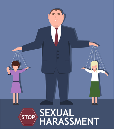 Sexual harassment poster with sad young girls and man in business suit. World social gender problem, womens right and sex discrimination vector illustration. Ilustração