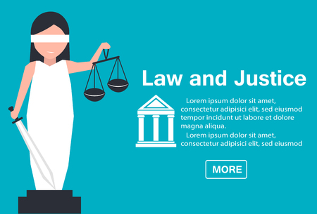 Lady justice illustration in flat stile. Law and justice concept with themis statue.