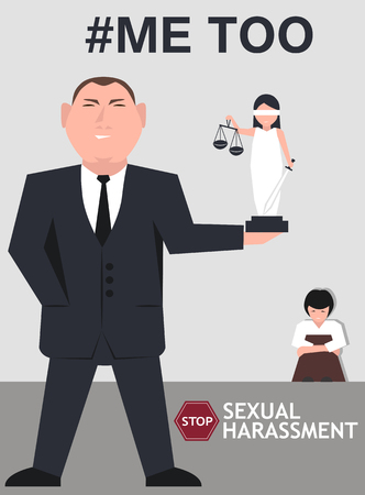 Sexual harassment poster with Lady Justice. World social gender problem, women's right and sex discrimination illustration.