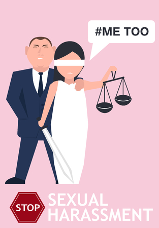 Sexual harassment poster with lady justice. World social gender problem, women's right and sex discrimination illustration. Vectores