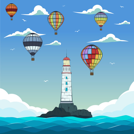Blue sea with hot air balloons and lighthouse on island, Marine nature landscape, sea navigation illustration. Illustration