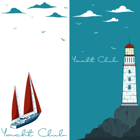 Blue sea with yacht and lighthouse on island. Marine nature landscape with sailboat, wildlife background, sea navigation, ocean regatta illustration.