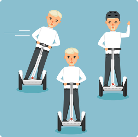 Young men on electric scooters vector illustration