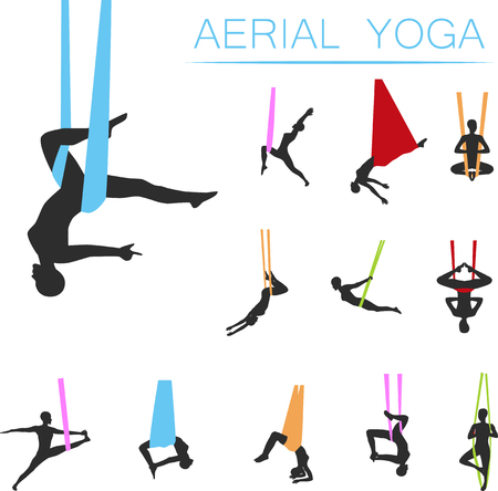 A yoga set with young woman silhouettes isolated on plain background