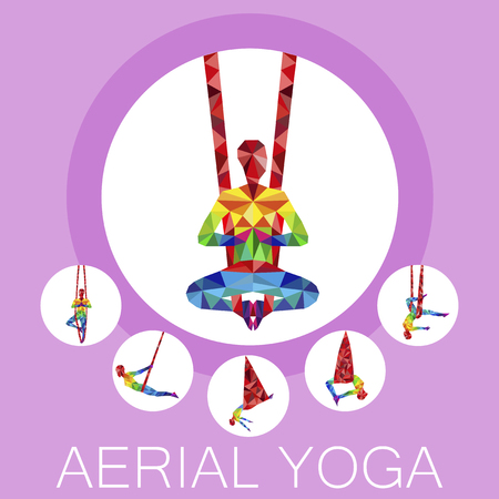 Aerial yoga banner with woman silhouette Vector illustration. Illustration