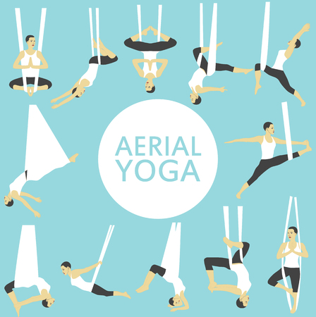 Aerial yoga set with young woman