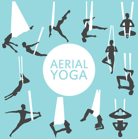 Aerial yoga set with young woman silhouettes Illusztráció