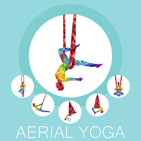 Aerial yoga banner with woman silhouette Vector illustration. Иллюстрация