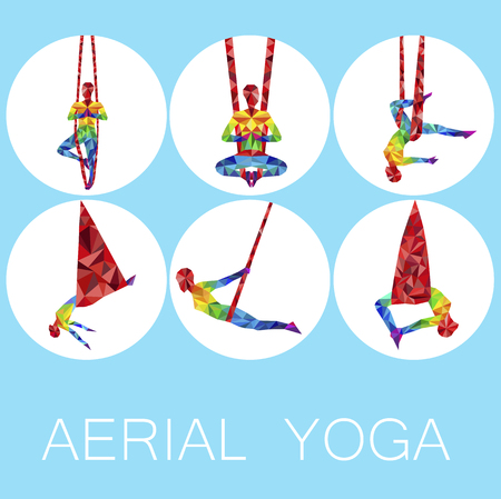Aerial yoga icons with woman silhouette Vectores