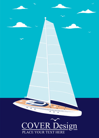 Yacht club design with sail boat