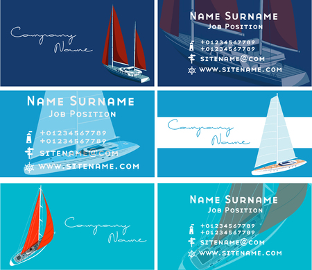 Yacht club business card design with sail boat Foto de archivo
