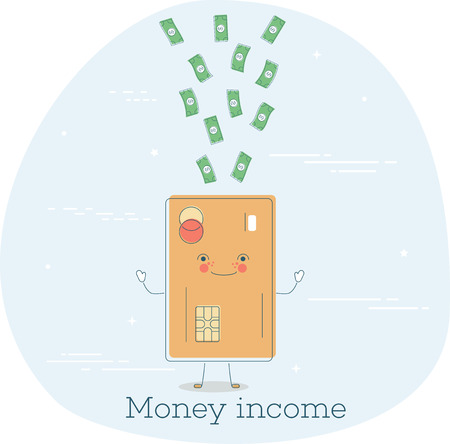 Money income trendy concept in line art style. Banking and finance, ecommerce service sign, business technology, retail and shopping symbol.