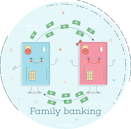 Family banking trendy concept in line art style. Banking and finance, ecommerce service sign, business technology, retail and shopping symbol.