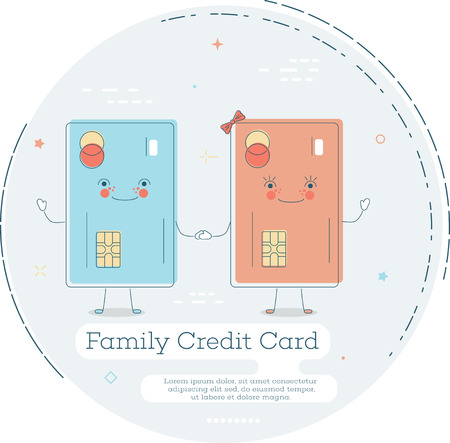 Family credit card trendy concept in line art style. Banking and finance, ecommerce service sign, business technology, retail and shopping symbol.