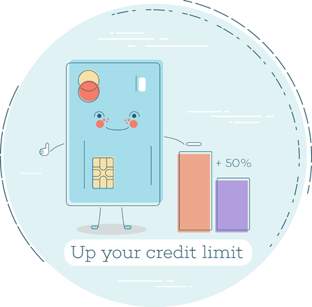 Up your credit limit trendy concept in line art style. Banking and finance, ecommerce service sign, business technology, retail and shopping symbol. 일러스트