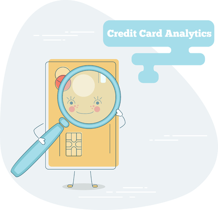 Credit card analytics trendy concept in line art style. Banking and finance, ecommerce service sign, business technology, retail and shopping symbol.
