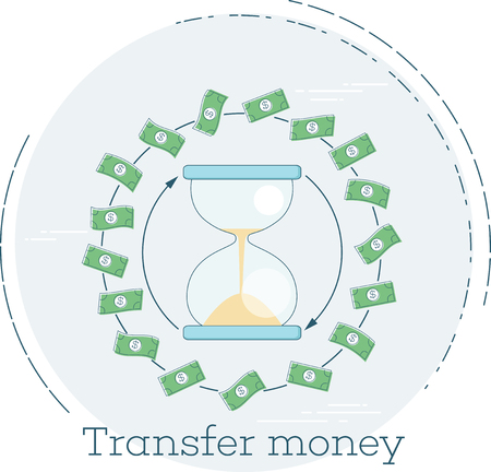 Transfer money concept in line art style illustration.