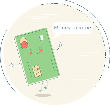 Money income trendy concept in line art style. Banking and finance, e-commerce service sign, business technology, retail and shopping symbol. Credit card funny character vector illustration. Vettoriali