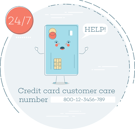 Credit card customer care trendy concept in line art style. Banking and finance, e-commerce service sign, business technology, retail and shopping. Credit card funny character vector illustration.