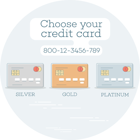Choose Your Credit Card Trendy Concept In Line Art Style