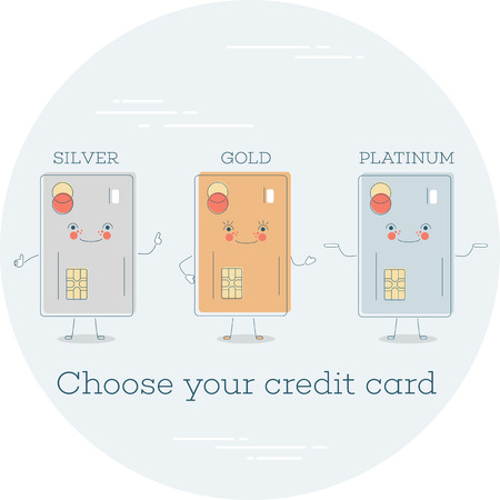 Choose your credit card trendy concept in line art style. Banking and finance, e-commerce service sign, business technology, retail and shopping. Credit card funny characters vector illustration.