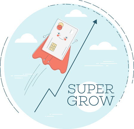 Super grow trendy concept in line art style. Banking and finance, e-commerce service sign, business technology, retail and shopping symbol. Credit card in red cloak funny character vector illustration.