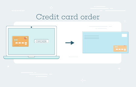 Credit card order trendy concept in line art style. Banking and finance, ecommerce service sign, business technology, retail and shopping symbol vector illustration 일러스트